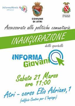 Atri  sabato 21 marzo inaugurazione dello sportello Informagiovani 0985c387337