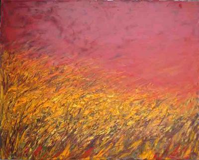 CAMPO DI GRANO AL TRAMONTO - olio su tela - cm. 70 x 100