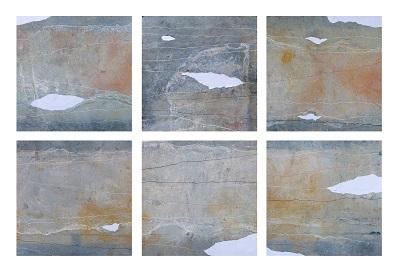 William Santoleri, Snow, 2015, polittico composto da sei pannelli, tecnica mista su lastra metallica ossidata, cm. 62x62 cad.