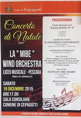 Cepagatti Natale 2015 concerto con la MIBE Wind Orchestra