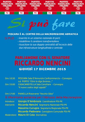 Manifesto eventi giov. 17 dic. PSI Abruzzo