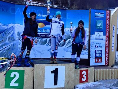 podio SuperG F 1° Carolli 2°Giordano 3° Romano