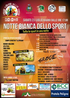 manifesto locandina notte bianca sport 2016 Raiano