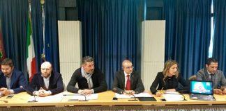 un momento della conferenza da destra Colletti, Ranieri, Mercante, Pettinari, Marcozzi, Vacca