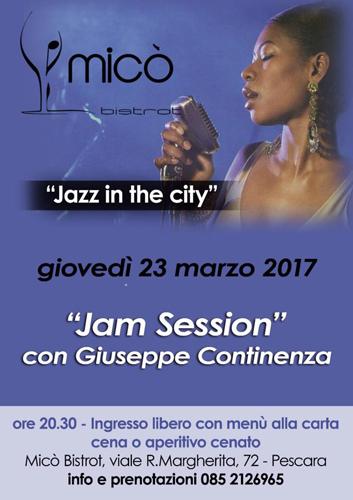 Jazz in the City con Giuseppe Continenza 23 marzo 2017