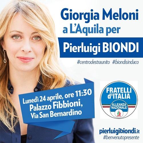 Giorgia Meloni a L'Aquila