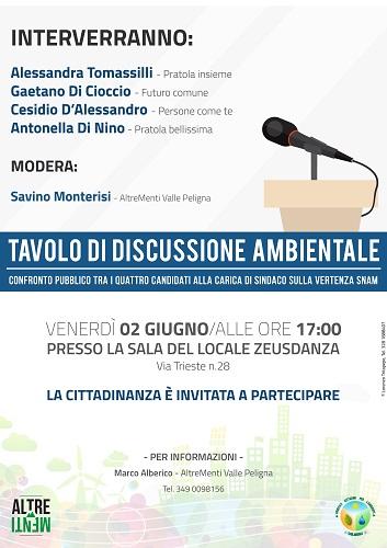 Locandina Pratola sindaci tavolo di discussione ambientale
