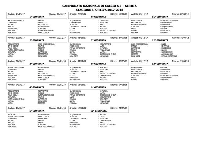 Nuovo Calendario Serie A.Calcio A 5 Pescara Il Calendario Della Stagione 2017 2018