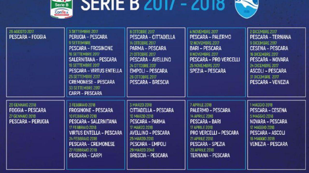 Bari Calcio Calendario.Pescara Calcio Calendario 2017 2018 Tutte Le Partite Dei