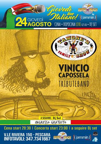 Tamone's Family show Vinicio Capossela il 24 agosto al Pepito Beach Pescara