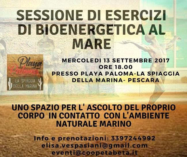 Sessione di esercizi di Bioenergetica al mare il 13 settembre a Pescara
