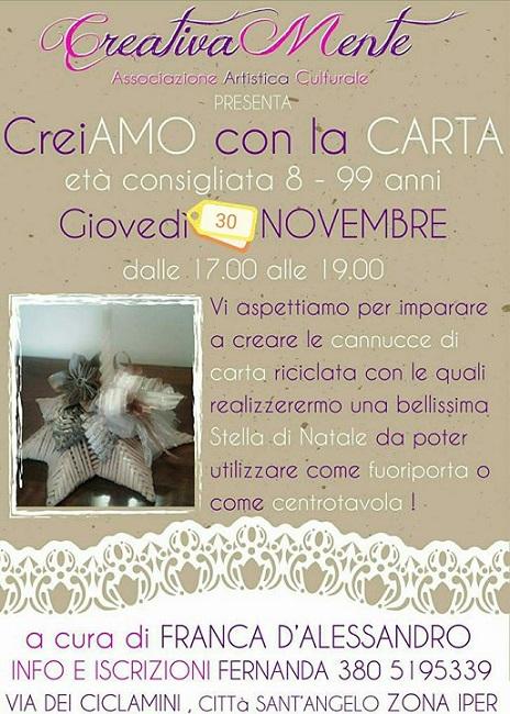 Creiamo con la carta, giovedì 30 novembre a Città Sant'Angelo