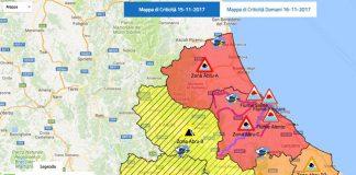 mappa criticità 15 novembre in Abruzzo
