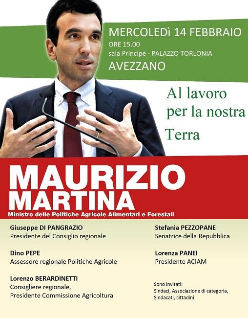 Il ministro Martina il 14 febbraio ad Avezzano