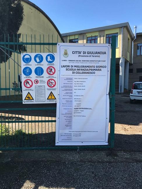 Giulianova, scuola di Colleranesco: al via i lavori