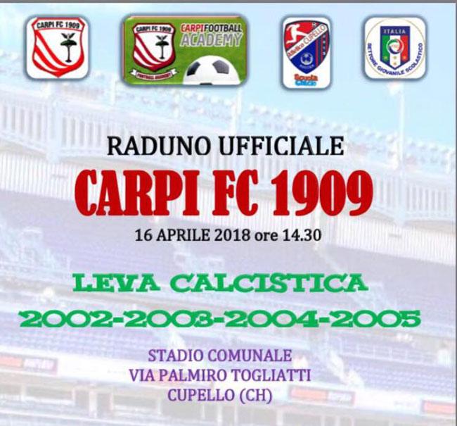 Cupello, raduno ufficiale Carpi FC 1909 per i ragazzi dal 2002 al 2005