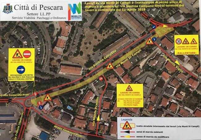 mappa mobilita Pescara via campana