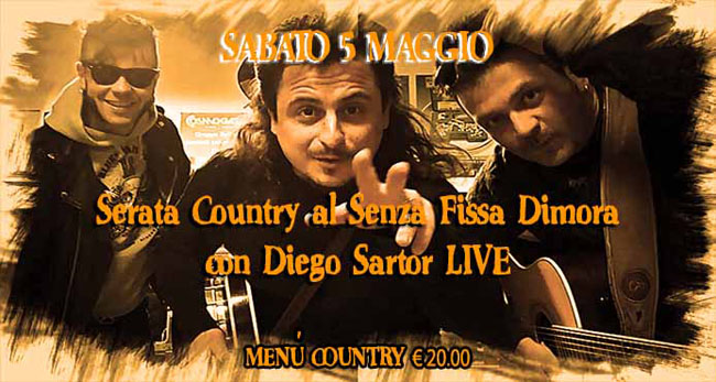 Diego Sartor live serata country Pescara 5 maggio