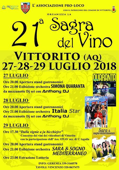 Simona Quaranta Calendario.Sagra Del Vino A Vittorito Dal 27 Al 29 Luglio 2018