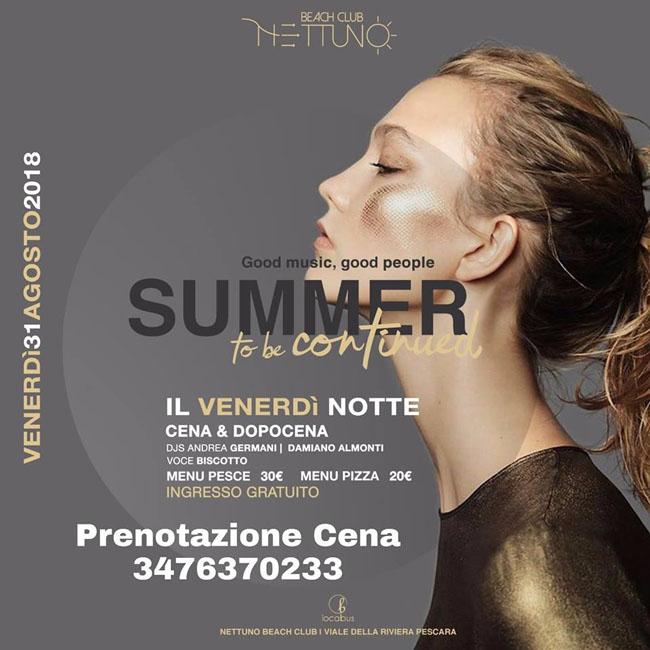 Nettuno disco a Pescara 31 agosto 2018