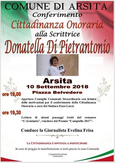 Cittadinanza Onoraria Donatella Di Pietrantonio
