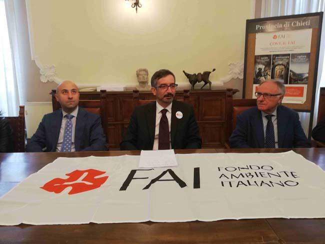 Giuseppe Di Giorgio sindaco Pennapiedimonte, Roberto Di Monte capo delegazione Fai Chieti, Mario Pupillo Presidente Provincia Chieti