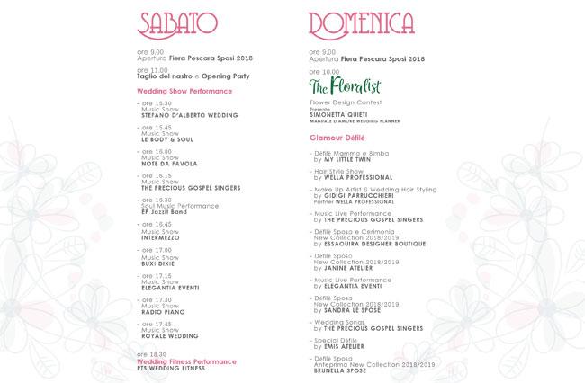 programma Pescara sposi 2018