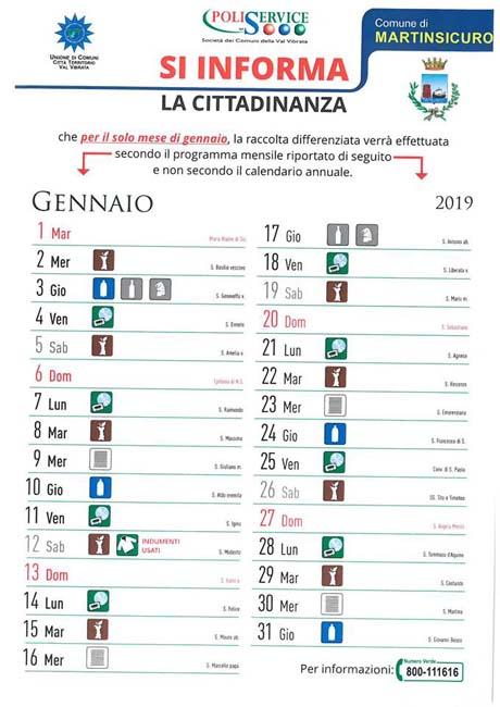 Calendario Gennaio.Martinsicuro Calendario Differenziata 2019
