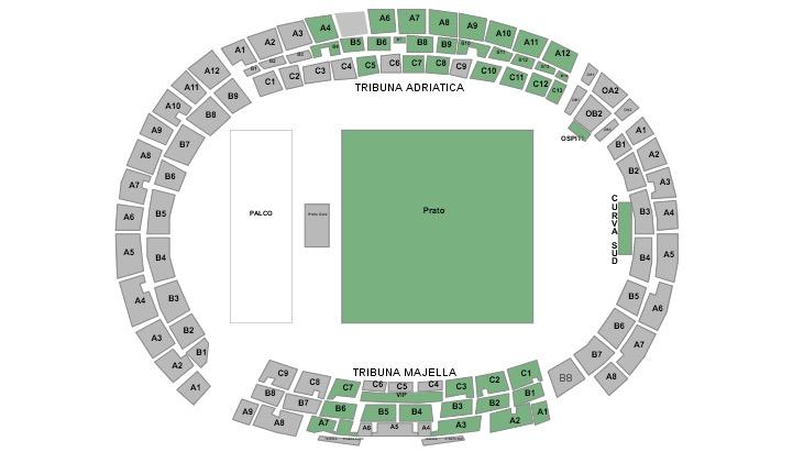 concerto Pausini Antonacci Pescara 2019 cartina