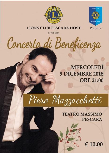 Piero Mazzocchetti concerto beneficenza 5 dicembre 2018