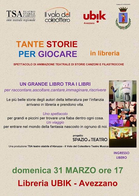 Locandina - Spazio Al Teatro - libreria Ubik Avezzano - 31 marzo