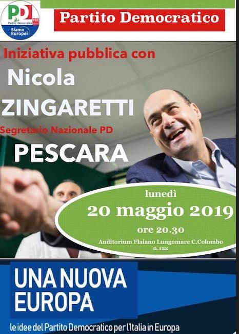Nicola Zingaretti Pescara 20 maggio 2019