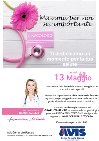 Consulenza ginecologica ed ostetrica Avis Pescara il 13 maggio