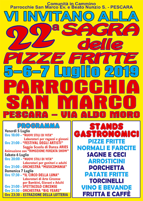 22° Sagra delle Pizze Fritte alla Parrocchia di San Marco