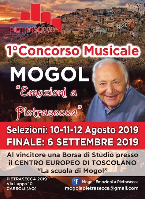 """Concorso canoro """"Mogol, Emozioni a Pietrasecca"""""""