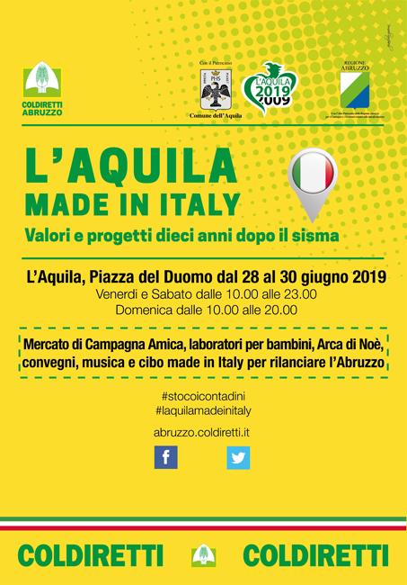 L'Aquila Made in Italy, evento Coldiretti nel weekend