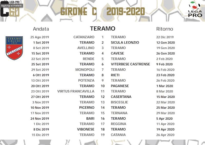 calendario teramo calcio 2019-2020