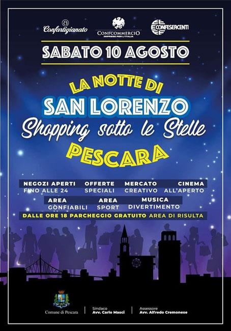 shopping sotto le stelle Pescara 10 agosto 2019