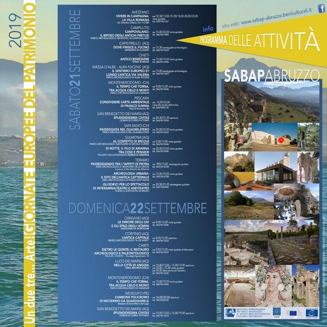 21 e 22 settembre, Giornate Europee del Patrimonio:le iniziative in Abruzzo