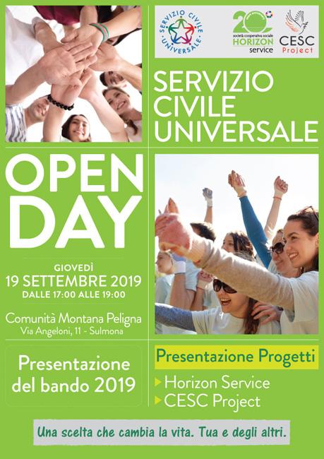 Open Day Servizio Civile 2019 Sulmona