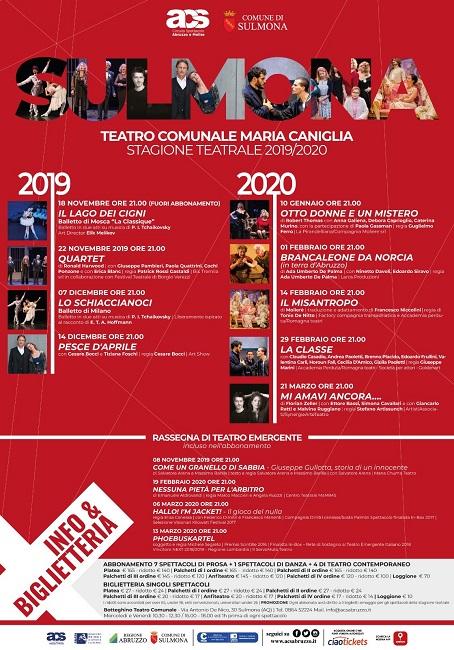 Sulmona, Teatro Maria Caniglia: presentata la stagione teatrale 2019/2020