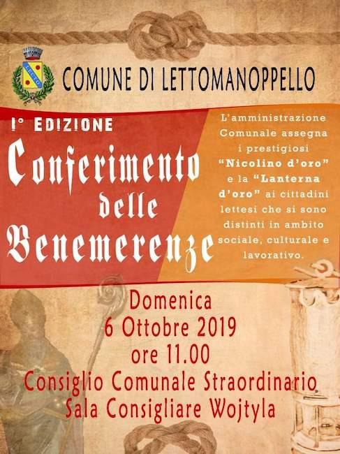 conferimento benemerenze Lettomanoppello 6 ottobre 2019