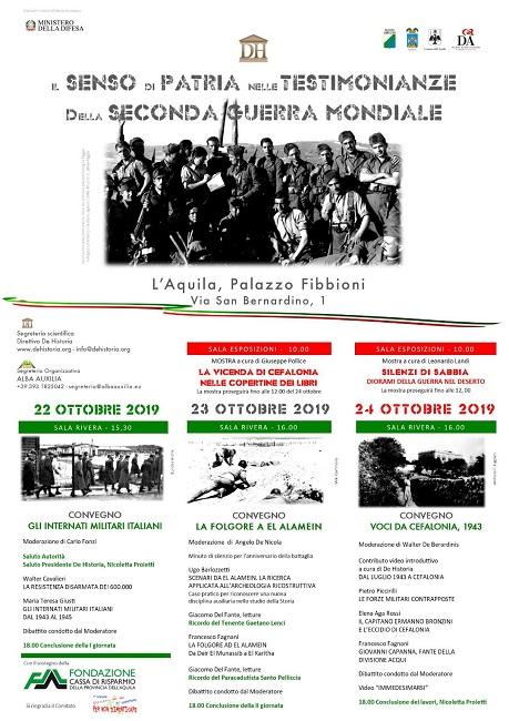 II senso di patria nelle testimonianze della 2° Guerra Mondiale a L'Aquila: dove e quando
