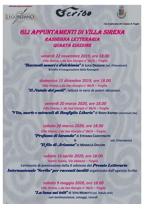 Locandina IV edizione Gli appuntamenti di Villa Sirena