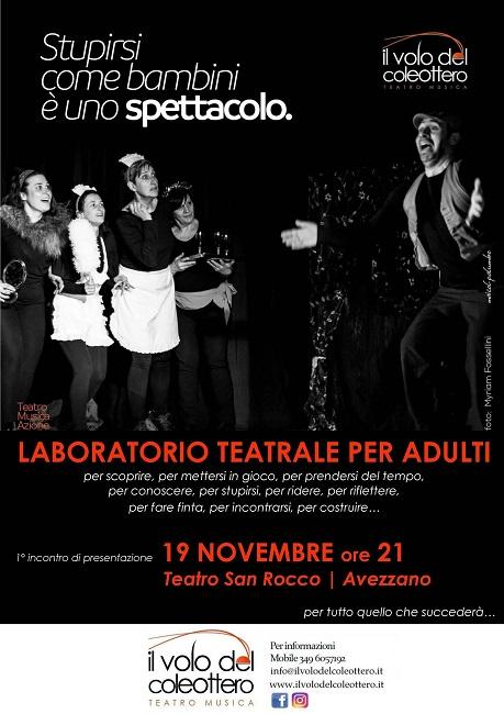 Avezzano, al via il nuovo corso di teatro per adulti - Abruzzonews