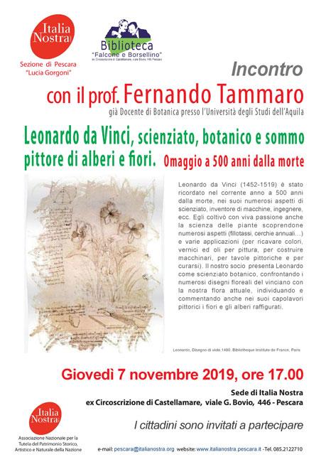 Incontro con Fernando Tammaro su Leonardo da Vinci a Pescara