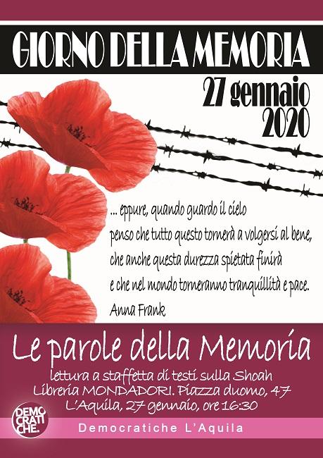 L'Aquila, gli appuntamenti per la Giornata della Memoria
