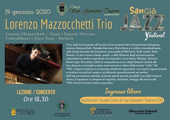 Torna il SanGiò Jazz Festival: sul palco il Lorenzo Mazzocchetti Trio