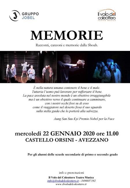Avezzano, al Castello Orsini - Colonna va in scena Memorie