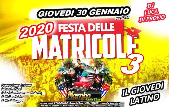 festa delle matricole mambo latin 30 gennaio 2020